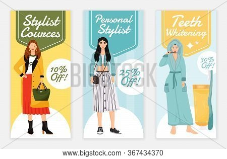 Beauty And Fashion Courses Flyers Flat Vector Templates Set. Personal Stylist Printable Leaflet Desi