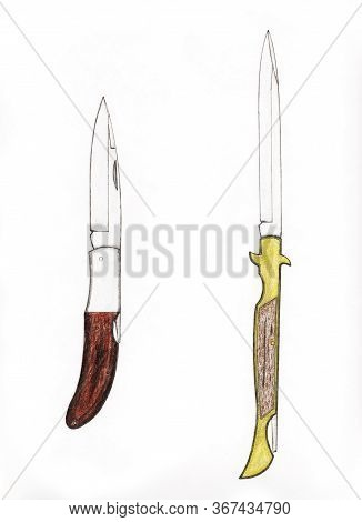 Handmade Color Drawing Of Contemporary Folding Knives Collectibles