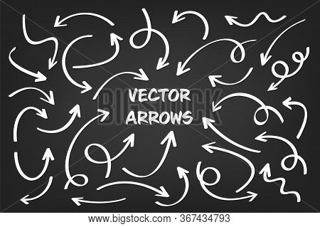 White Hand Drawn Arrows Set On Gray Background. Arrow, Cursor Icon. Vector Pointers Collection.