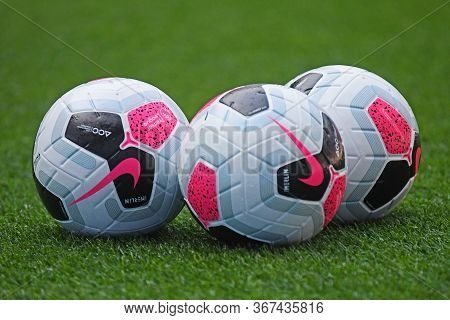 London, England - August 25, 2019: The Official Premier League Match Balls Pictured Ahead Of The 201