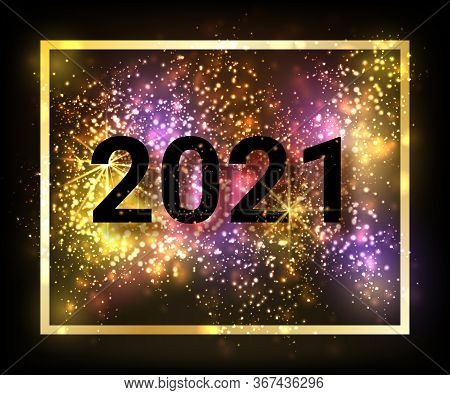 New Year 2021 Logo Text Design Write Gold. Black Numbers 2021. Vector Illustration