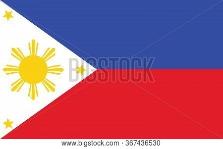 Philippines Flag Vector Graphic. Rectangle Filipino Flag Illustration. Philippines Country Flag Is A