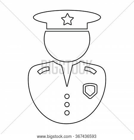 Police Officer Outline Icon. Black And White Illustration Pictogram Icon Depicting Uniformed Law Enf