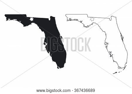 Florida Fl State Maps Usa With Capital City Star At Tallahassee. Black Silhouette And Outline Isolat