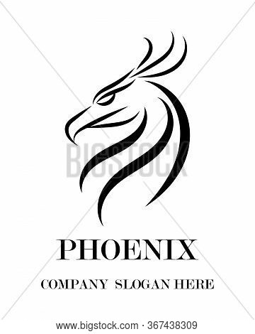 Black Line Vector Logo Of Phoenix Head . It Shows Power And Strength.