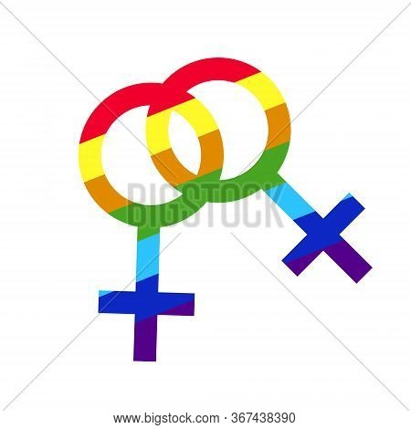 Female symbol icon. International Womens Day. Women rights. LGBT Lgbt support, fight for gay and lesbian rights, helping hands and hearts, rainbow colors. Rainbow lgbt spectrum flag of Gay Pride Movement, homosexuality emblem. The pride flag representing