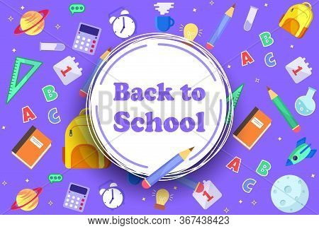 Back to School banner with icons of education, science objects and office supplies. Back to school with school items and elements. vector banner design. Back to school banner, vector banner set of schoolbags, back to school concept Back to school sale ban