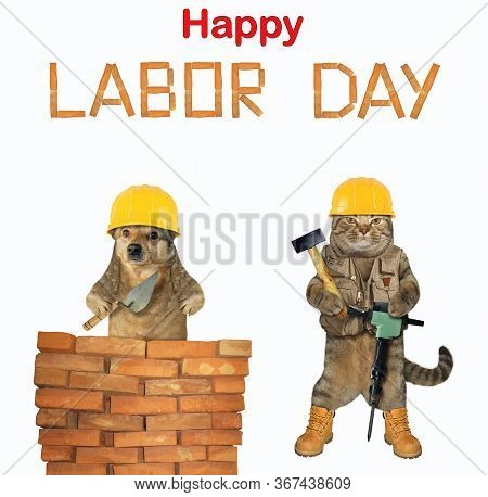 The Cat And The Dog Are Construction Workers In Yellow Helmets. They Are Laying Red Bricks To Make A