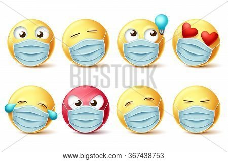 Emoji Covid-19 Face Mask Vector Set. Emojis And Emoticons With Facial Expressions And Face Mask For