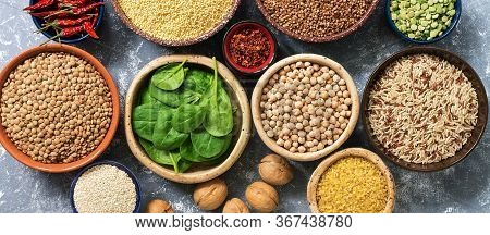 Vegan Source Of Protein, Banner. Legumes, Grains, Nuts, Spices, Spinach. Food Sources Of Plant Based