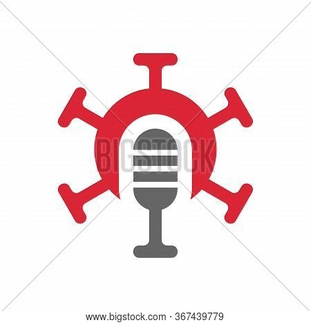 Podcast Logo With Virus Symbol, Studio Mic And Mers Corona Virus Disease, Novel Coronavirus Illustra