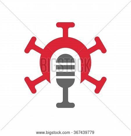 Podcast Logo With Virus Symbol, Studio Mic And Mers Corona Virus Disease, Novel Coronavirus Illustra