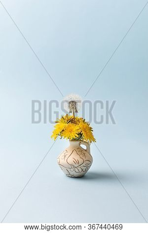 Difference, Unique Teamwork Opposite Opposite Concept. Yellow Dandelion Flowers And One Flower With