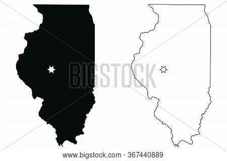 Illinois Il State Map Usa With Capital City Star At Springfield. Black Silhouette And Outline Isolat