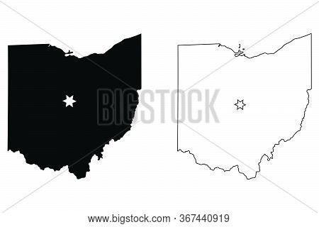 Ohio Oh State Map Usa With Capital City Star At Columbus. Black Silhouette And Outline Isolated On A