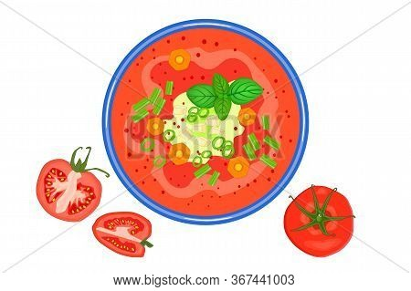 Tomato Soup Isolated On White Background. Hot Vegetable Soup In Plate And Tomato Slices Near. Tomato