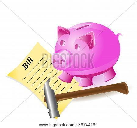 Money-box Is A Pig Hammer And Bill