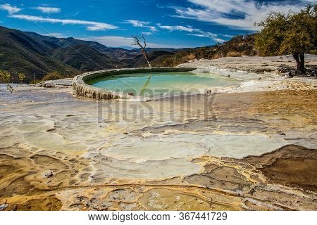Thermal Pool Of Touristic Attraction Hierve De Agua In Oaxaca Region Of Mexico