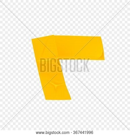 Yellow Duct Repair Tape Corner Isolated On Transparent Background. Realistic Yellow Adhesive Tape Pi