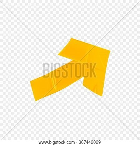 Yellow Duct Repair Tape Arrow Isolated On Transparent Background. Realistic Yellow Adhesive Tape Pie
