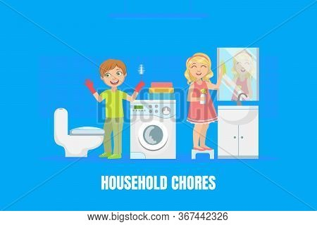 Household Chores, Cute Boy And Girl Cleaning Bathroom And Toilet With Brush, Children Doing Housewor