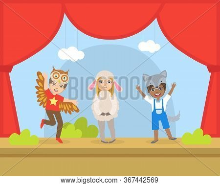 Cute Kids Actors Performing On Stage, Talented Children In Animals Costumes Showing Their Artistic T