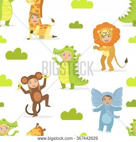 Cute Kids In African Animals Costumes Seamless Pattern, Birthday Party, Masquerade Design Element Ve