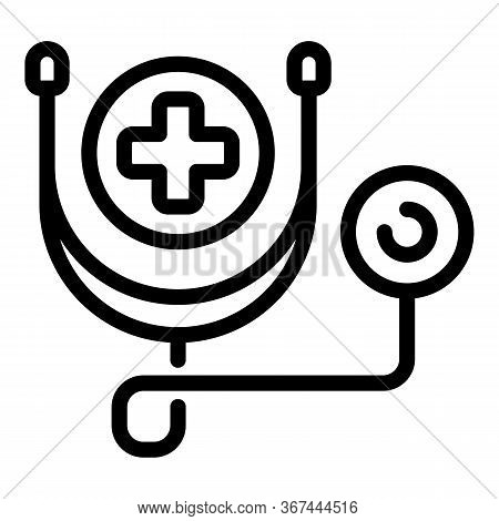 Medical Dog Stethoscope Icon. Outline Medical Dog Stethoscope Vector Icon For Web Design Isolated On