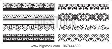 Modern Thai Art Line Seamless Border. Old Lace Patterns. Bold Line Cute And Doodle Art Use For Decor
