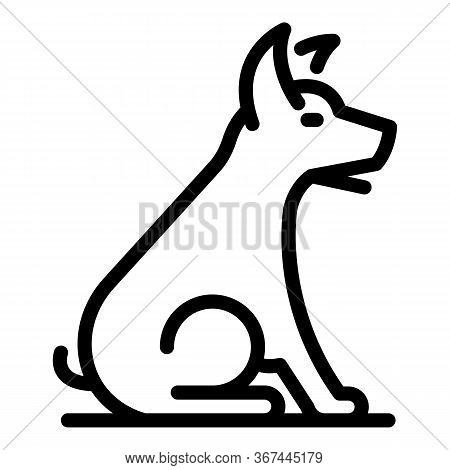 Sit Down Dog Icon. Outline Sit Down Dog Vector Icon For Web Design Isolated On White Background