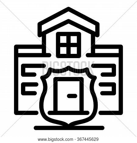 House Villa Guard Icon. Outline House Villa Guard Vector Icon For Web Design Isolated On White Backg