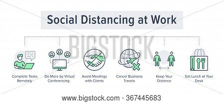 Social Distancing At Work Poster With Flat Line Icons. Vector Illustration Included Icon As Avoid Ha