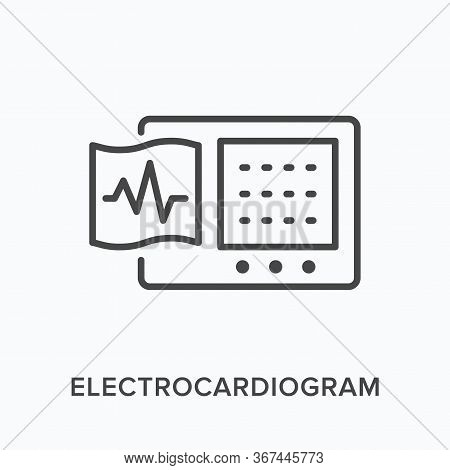 Ecg Flat Line Icon. Vector Outline Illustration Of Electrocardiogram. Cardiology Equipment Thin Line