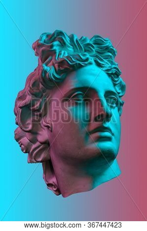 Collage With Plaster Antique Sculpture Of Human Face In A Pop Art Style. Creative Concept Colorful N
