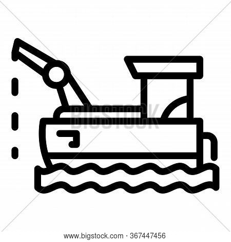Floating Fish Farm Icon. Outline Floating Fish Farm Vector Icon For Web Design Isolated On White Bac