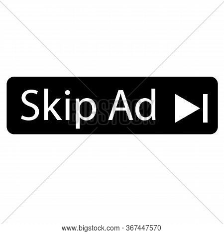 Skip Ad Advertisemen Icon On White Background. Flat Style. Skip Ad Button For Your Web Site Design,