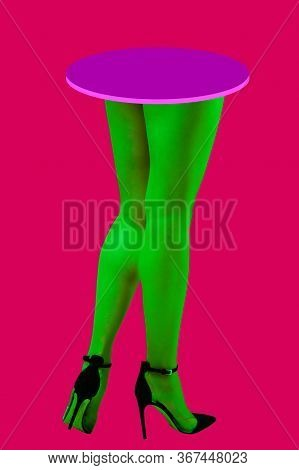 Sexy Woman Legs In Neon Tights And Shoes With High Heels Over Acid Color Background. Webpunk, Vaporw