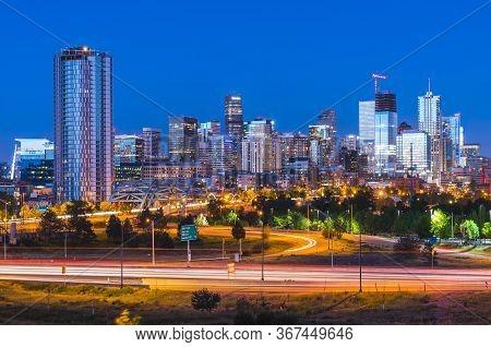 Beautiful Denver Skyscraper At Night,denver,colorado,usa.