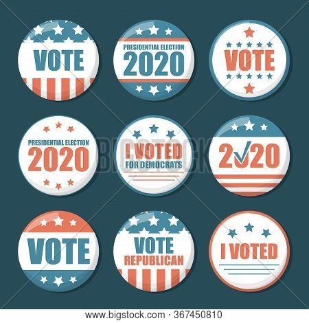 Collection Of Us Election Pins Vector Isolated