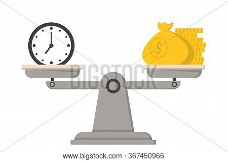 Money And Time On The Scales Vector Isolated