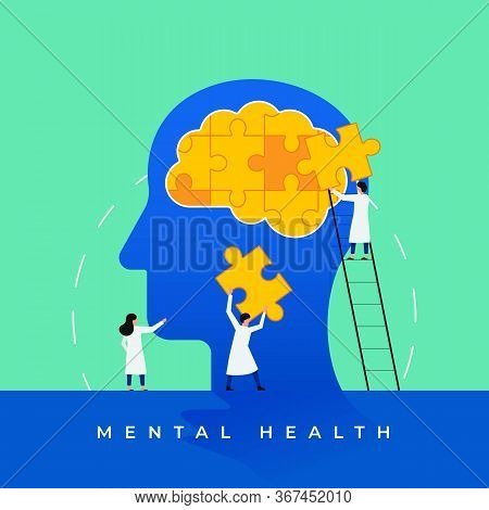 Mental Health Medical Treatment Vector Illustration. Psychology Specialist Doctor Work Together To F