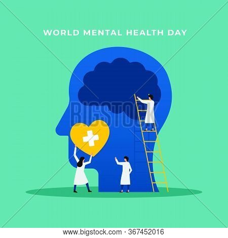 Mental Health Medical Treatment Vector Illustration. Specialist Doctor Work Together To Give Psychol