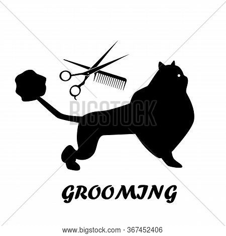 Silhouette Of A Beautifully Trimmed Fluffy Cat, Scissors And Comb. Grooming, Pet Care. Vector Illust