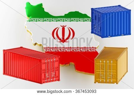 3d Map Of Iran. Freight Shipping In Containers. Export From The Country In Containers. 3d Rendering