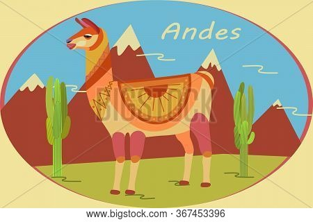 Landscape In Oval Frame With Andes Mountains, Cacti And Llamas. Background For Zoo, Tourism, Souveni