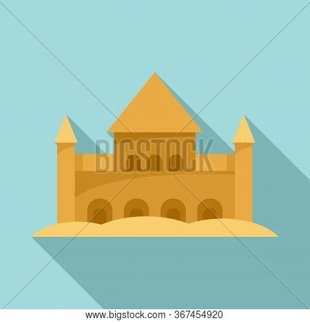 Sand Castle Fort Icon. Flat Illustration Of Sand Castle Fort Vector Icon For Web Design