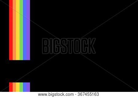 Illustration With Colorful Rainbow Flag Or Pride Flag / Banner & Black Background Of Lgbtq (lesbian,