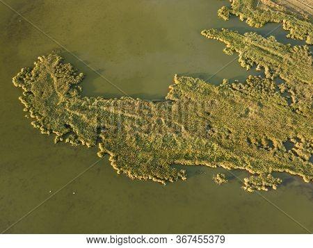 Aerial Top View Of Tuzly Estuary National Nature Park Near By Black Sea Coast, Tatarbunary Region, B