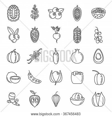 Modern Superfood Icons Set. Outline Set Of Modern Superfood Vector Icons For Web Design Isolated On