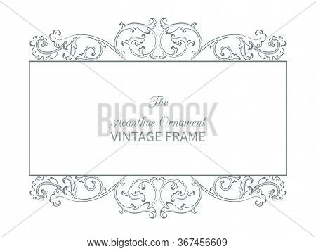 Antique Frame In Style Baroque Of Acanthus Leaves. Monogram Floral Ornament